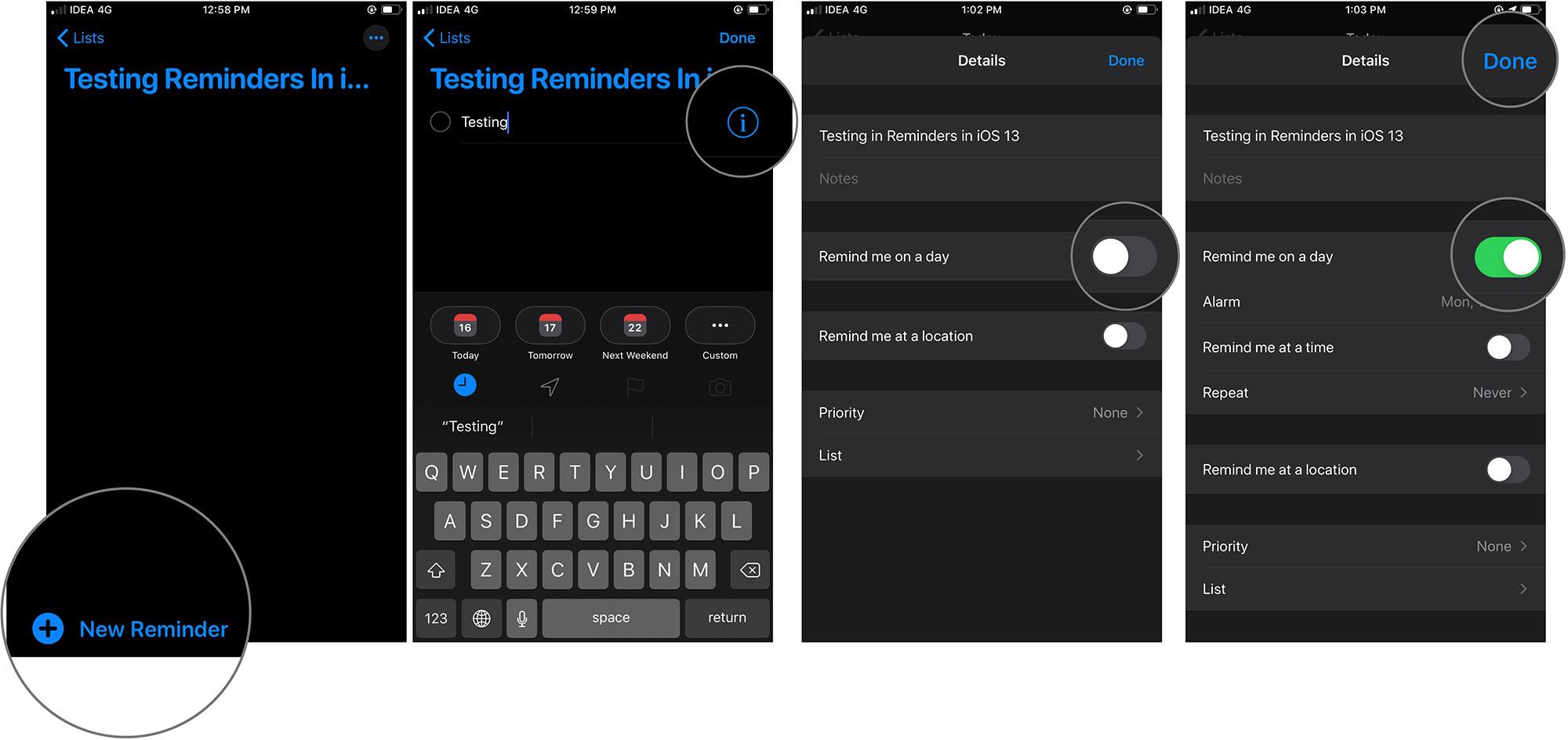 Listede Yeni Hatırlatıcı Oluşturma ve iOS'ta Hatırlatıcı Ayarlamak için Seçenek Seçme 13