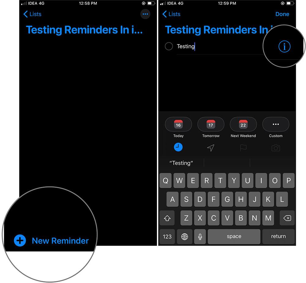 İPhone'da iOS 13 Uygulamasında List'teki Hatırlatıcı'nın i simgesine dokunun