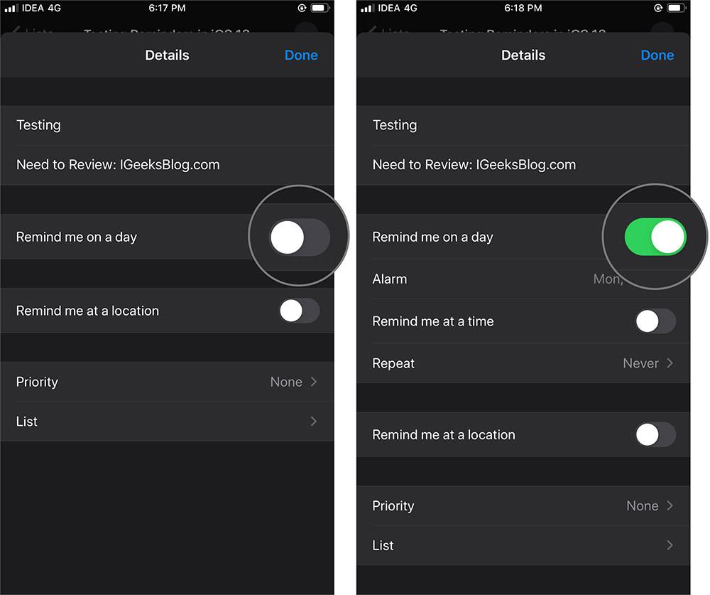 IOS'ta Bir Günde Bana Hatırlatmak 13 Hatırlatmalar App