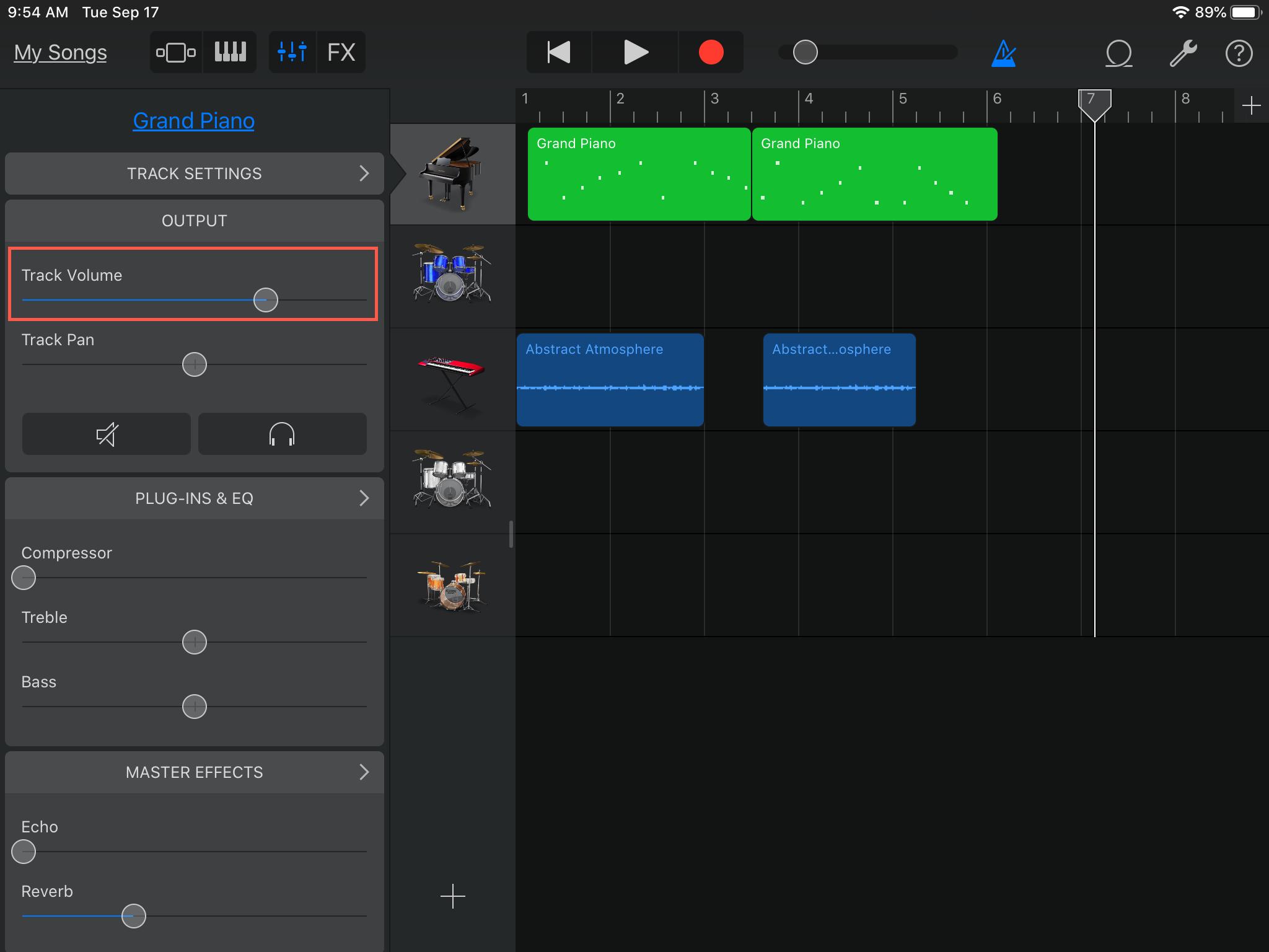 GarageBand Parça Ses Ayarı iPad'ini Ayarlayın