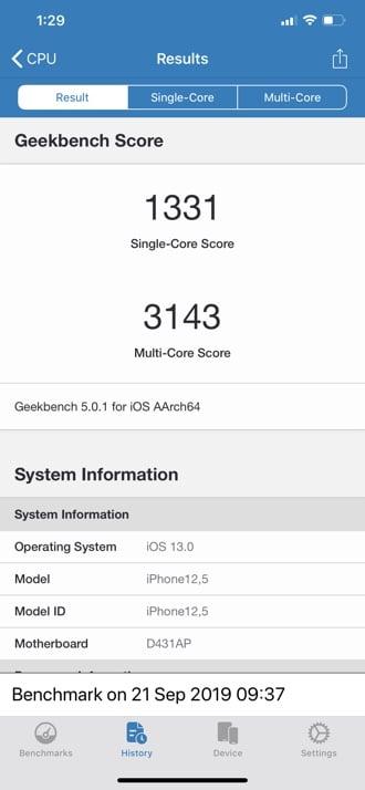iPhone 11 Pro Max Geekbench 5 - Tek çekirdekli ve Çok çekirdekli puan