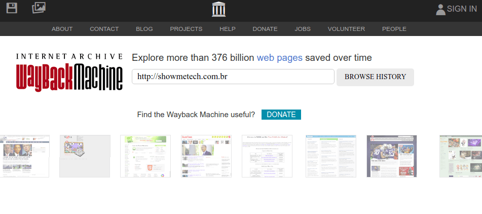 WayBack Machine, eski sayfalara erişmeniz ve almanız için tam bir hizmet sunmaktadır.