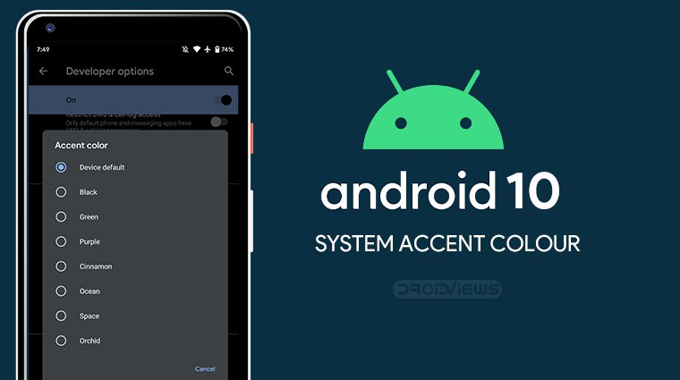 ssystem accent rengi android 10