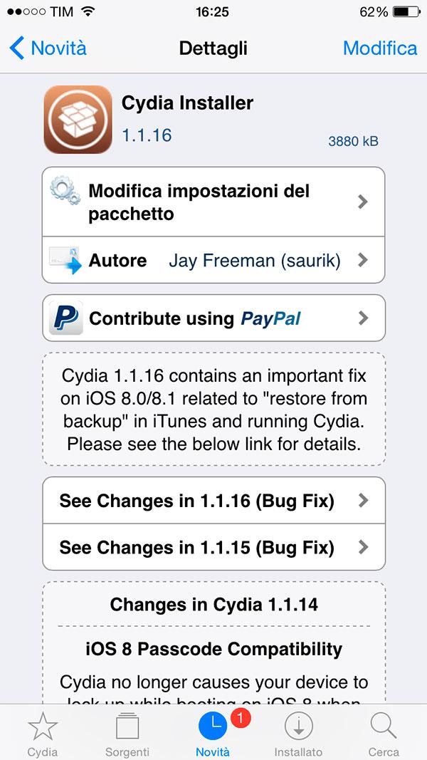Cydia, önemli düzeltmeler ve geliştirmelerle 1.1.16 sürümüne güncellendi 2