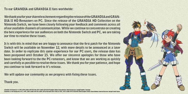 Grandia HD Remaster güncellemesi 12 Kasım'da yapılacak 1