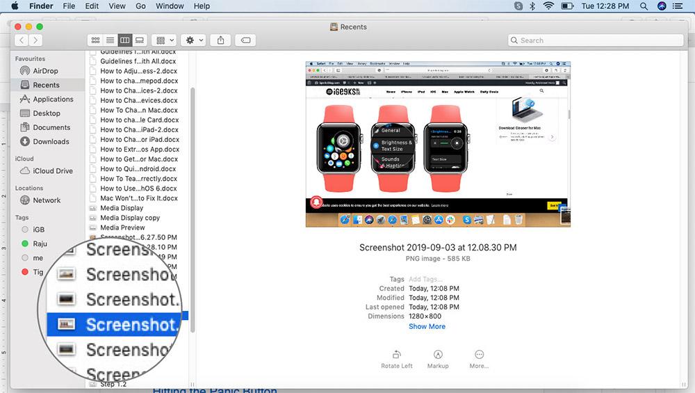 Mac Finder'da Hızlı Bak'ta Dosya Seçin