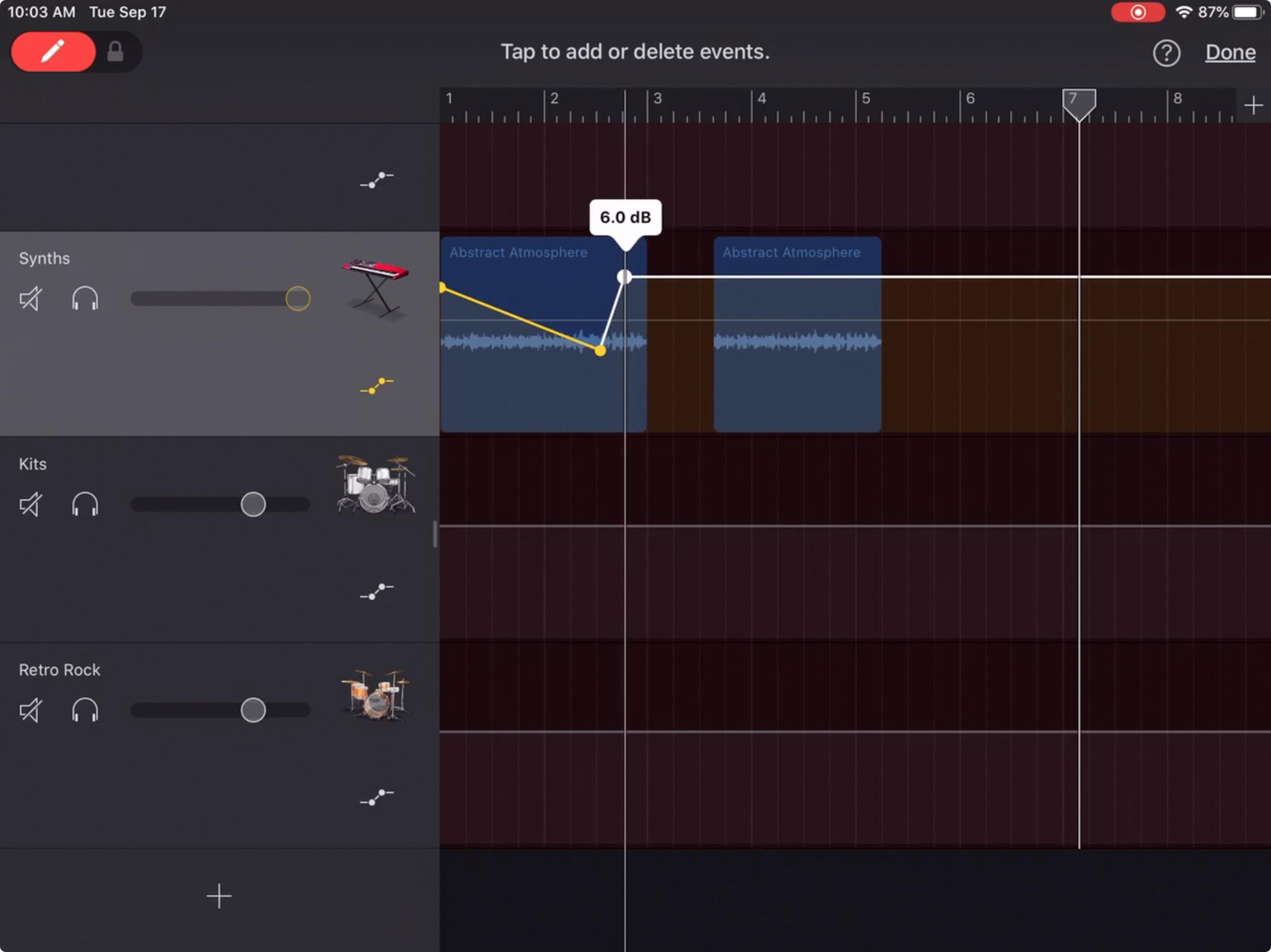 GarageBand Ses Seviyesini Ayarla iPad
