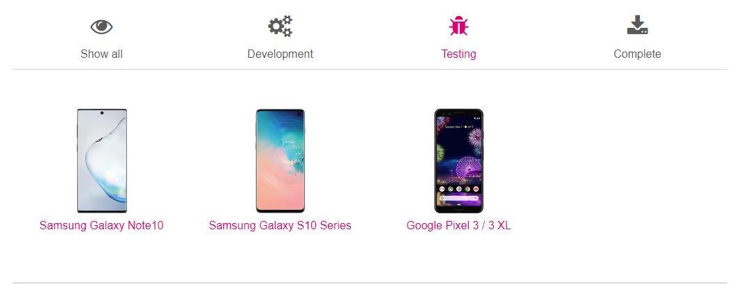 T-Mobile USA Android 10'u test ediyor Galaxy Note  10 ve Galaxy S10 1