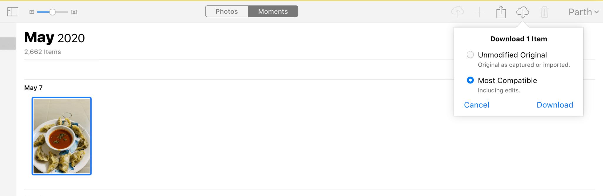 baixar Fotos do iCloud