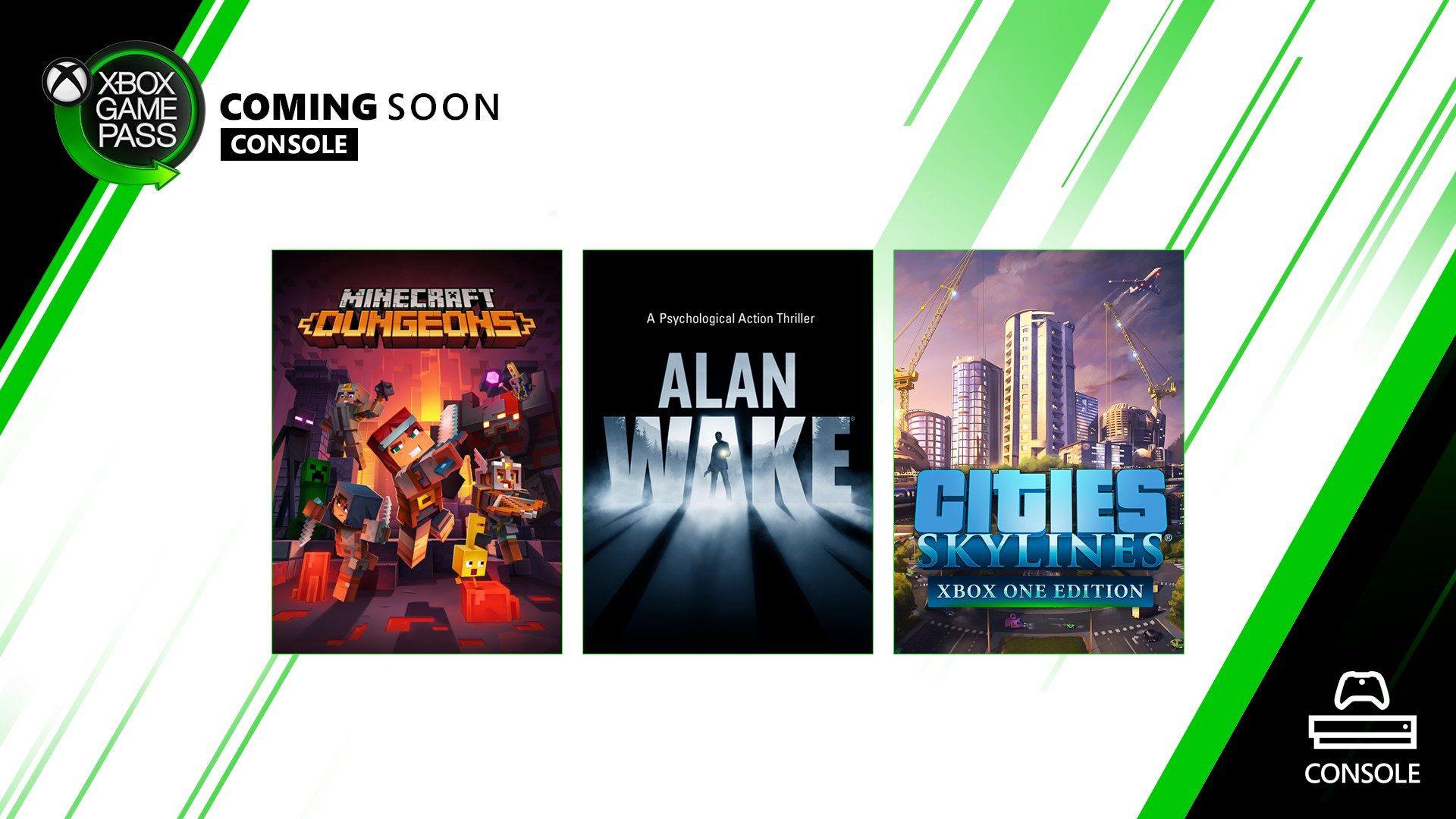 Em breve no Xbox Game Pass para Console: Alan Wake, Cities: Skylines e Minecraft Dungeons