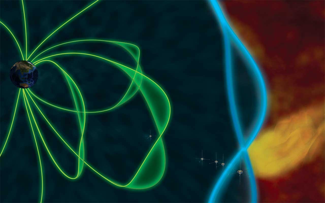 Jatos de plasma atingindo o campo magnético da Terra soltam uma batida semelhante a um tambor