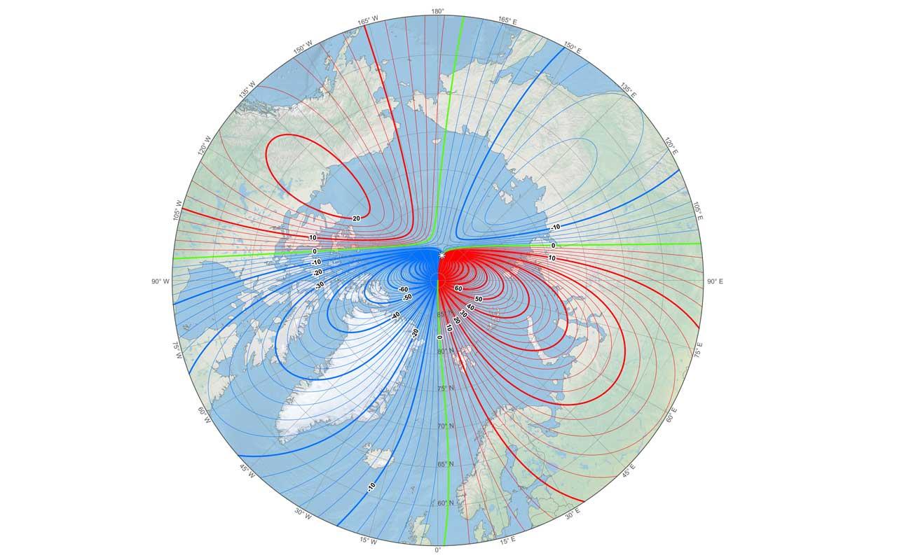 Mudanças inesperadas no pólo norte magnético significam novo mapa do modelo magnético do mundo