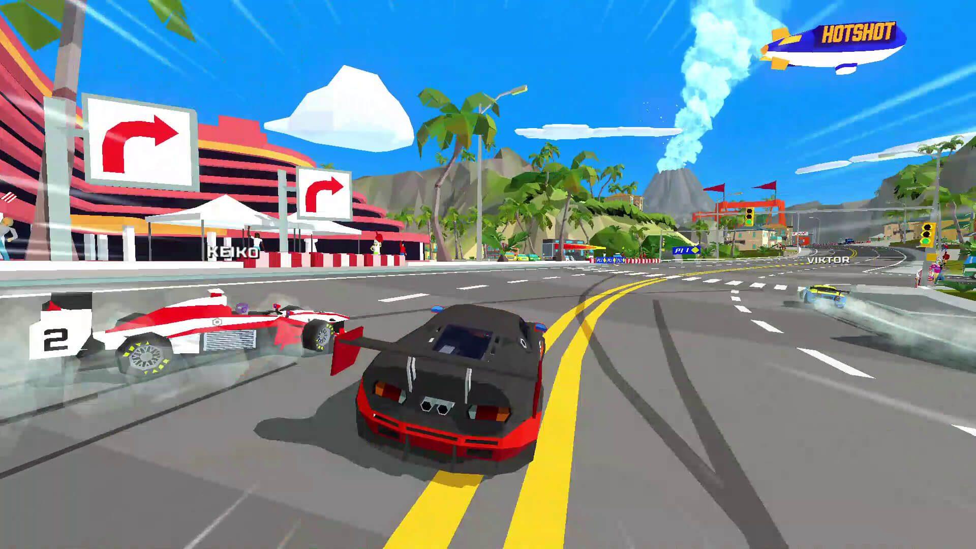 O jogo de corrida de inspiração retrô, Hotshot Racing, está chegando ao PC em ...