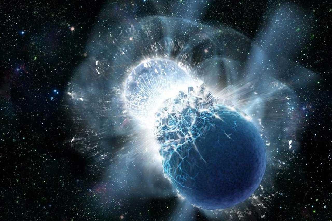 Ondas gravitacionais possivelmente de duas estrelas de nêutrons em colisão detectadas