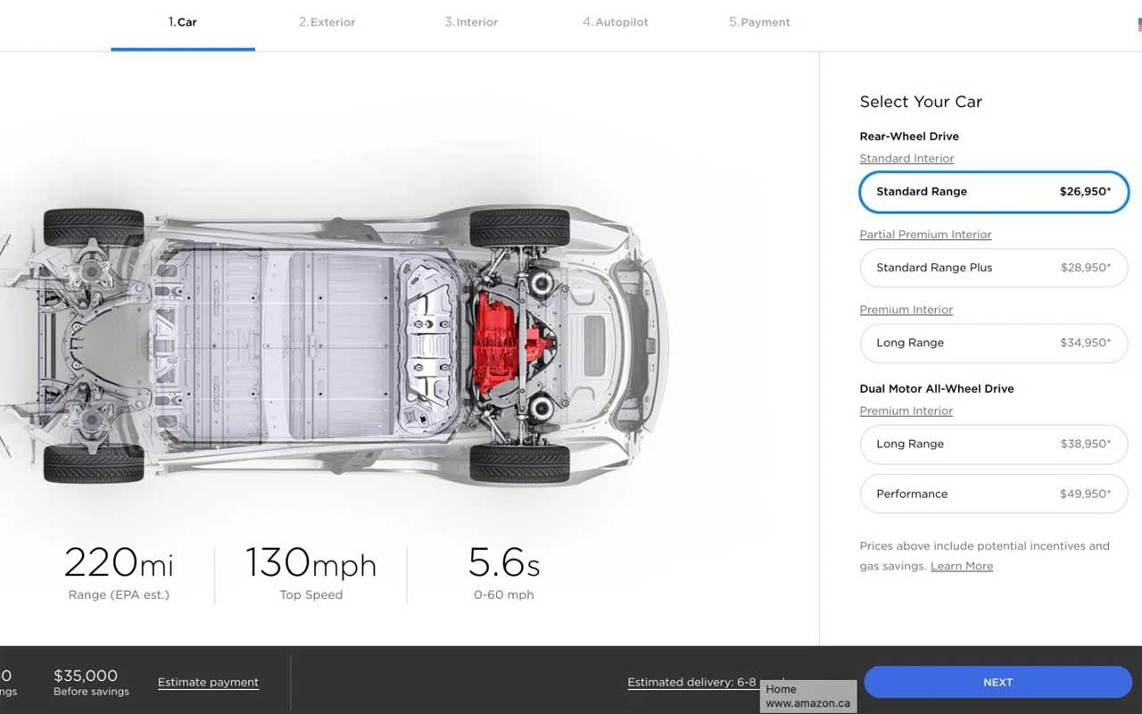 Tesla Model 3 mid range battery pack option axed