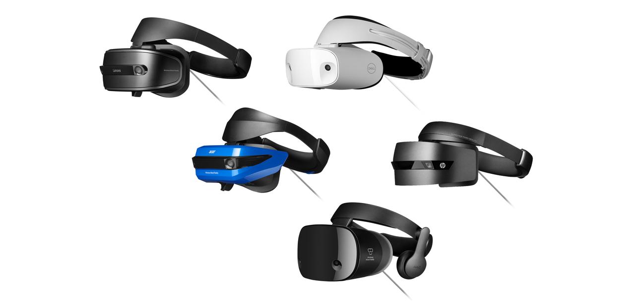 Colagem de fones de ouvido de realidade mista do Windows, incluindo HP, Dell, Lenovo, Acer e Samsung