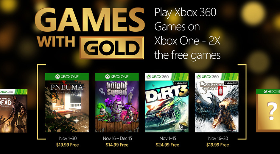 Jogos Xbox One com Gold Doubles em novembro com compatibilidade com versões anteriores