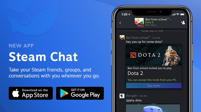 Lançado o aplicativo Steam Chat Smartphone