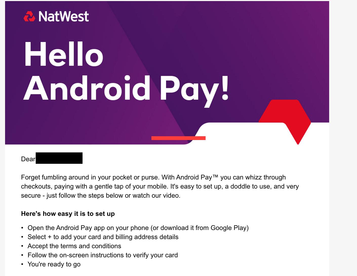 NatWest fica a par do Android Pay