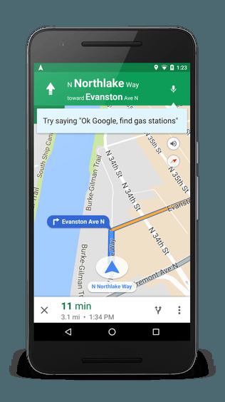 """Navegação por voz """"OK Google"""" chegando ao Google Maps"""